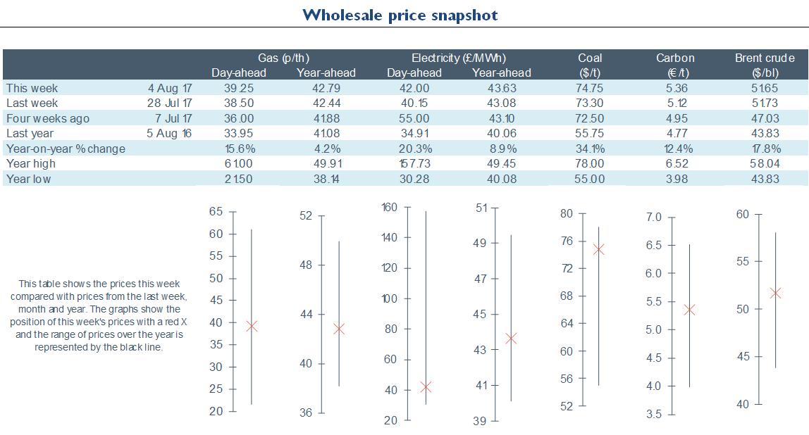 Electricity Retail - Energy Wholesale Market Review 04.08.2017
