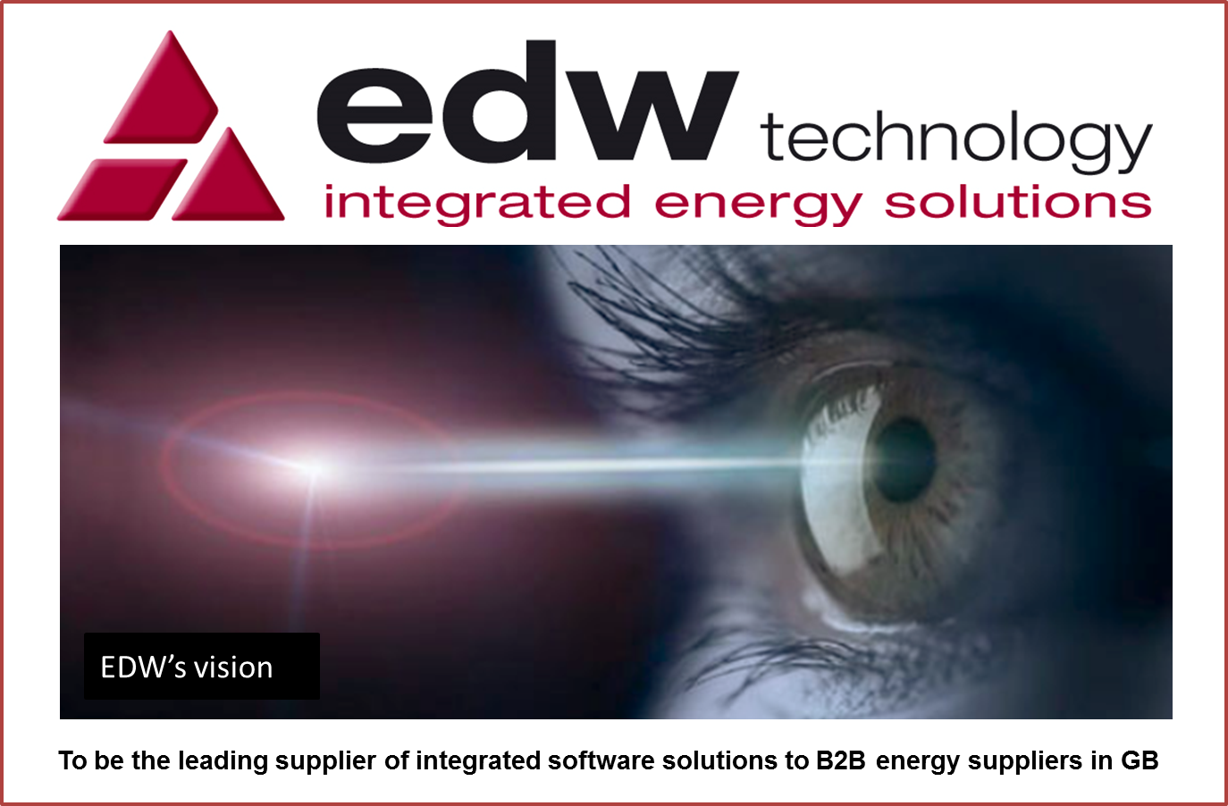 EDWs Vision - to be the leading supplier of integrated energy retail billing system software solutions to B2B energy suppliers in UK